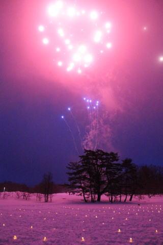 雪原の花火 エコナイトファンタジー裏磐梯