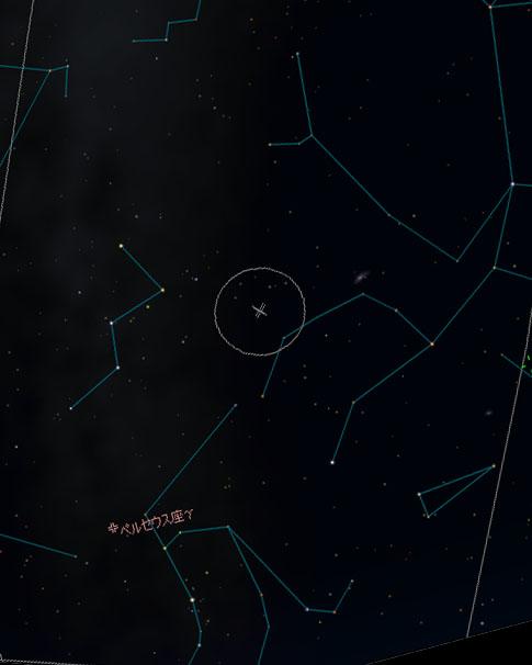 ペルセウス座流星群輻射点(放射点)