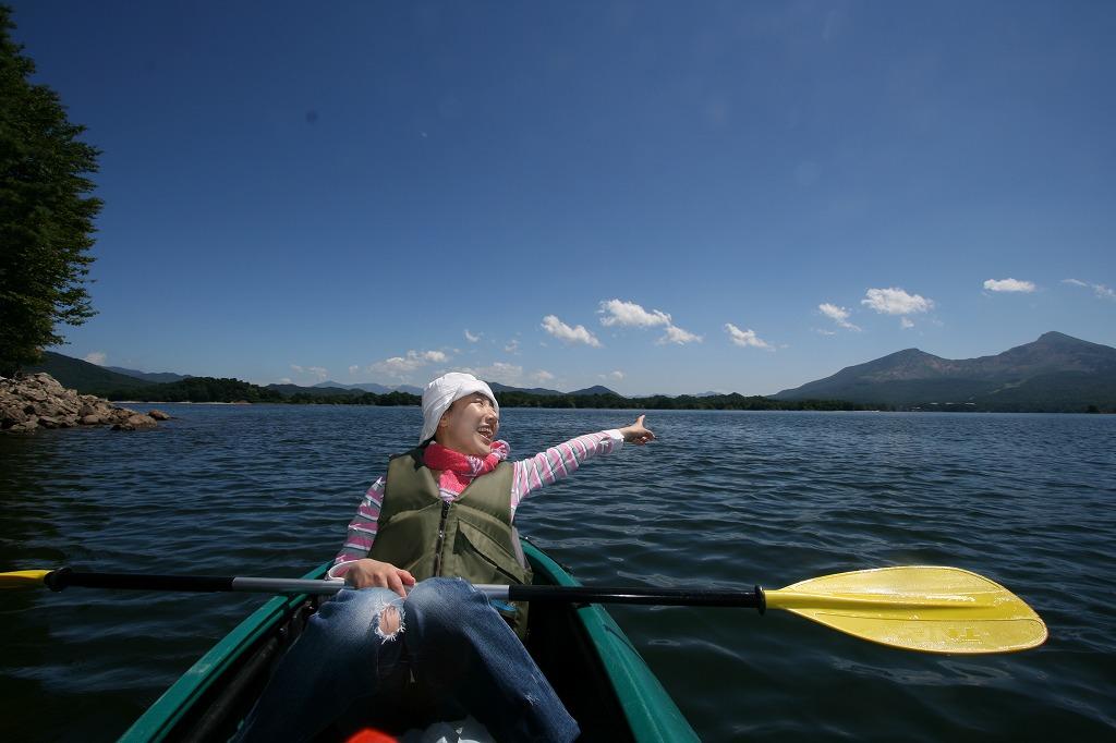 桧原湖カヌーと磐梯山