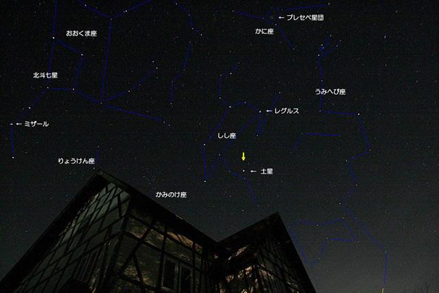 春の星座を説明する星夜画像