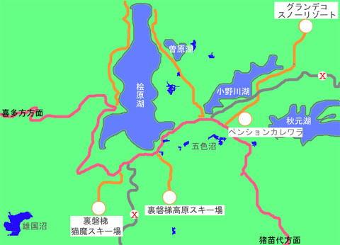 裏磐梯各スキー場のアクセスマップ