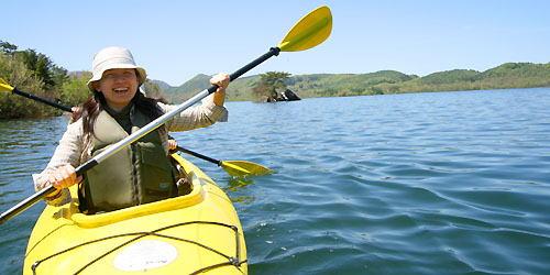 桧原湖でカヌーツーリング