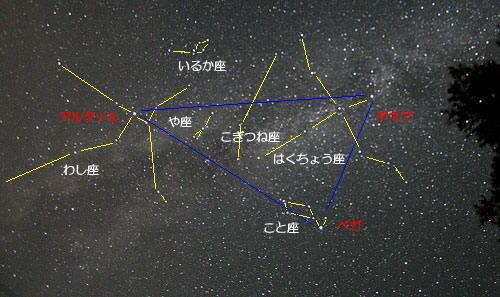 夏の星座を説明する星夜画像