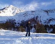 磐梯山火口でスノーシュー