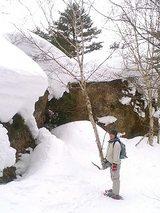 スノーシューで磐梯山火口を散策