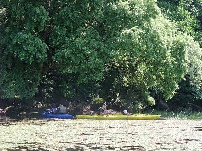カヌーに乗ったまま木陰で休憩