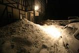 玄関の雪山
