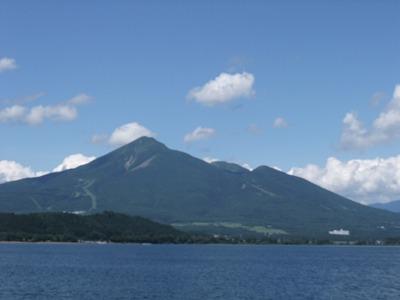 猪苗代湖上から見る磐梯山